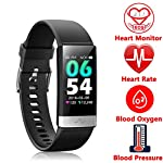 Fitness Tracker, Activity Tracker Watch with Heart Rate MonitorSleep Monitor Blood PressureCall Reminder,IP68 Waterproof Smart Band with Calorie Counter?Pedometer for Kids Men Women and Gift Black