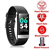 Fitness Tracker, Activity Tracker Watch with Heart Rate MonitorSleep Monitor Blood PressureCall Reminder,IP68 Waterproof Smart Band with Calorie CounterPedometer for Kids Men Women and Gift Black