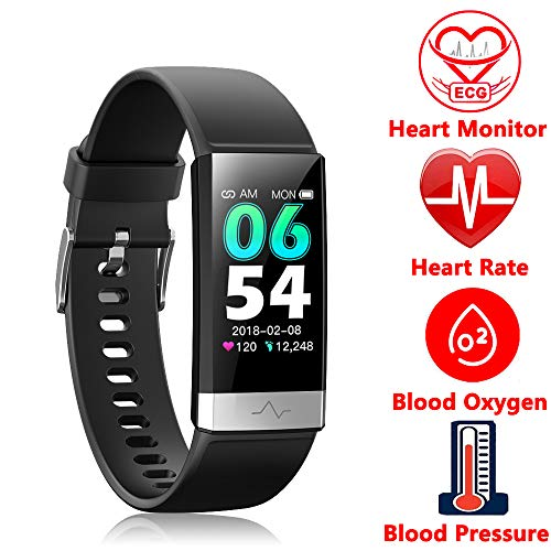 Fitness Tracker, Activity Tracker Watch with Heart Rate Monitor Sleep Monitor Blood Pressure Call Reminder,IP68 Waterproof Smart Band with Calorie Counter,Pedometer for Kids Men Women and Gift Black