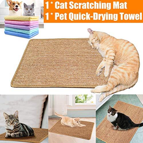 Kratzmatte für Katzen Sisalteppich + Haustier Badetuch, Sisal Kratzteppich Naturfaser, Kratzmatte für die Krallenpflege Ihrer Katze (30cm x 50cm)