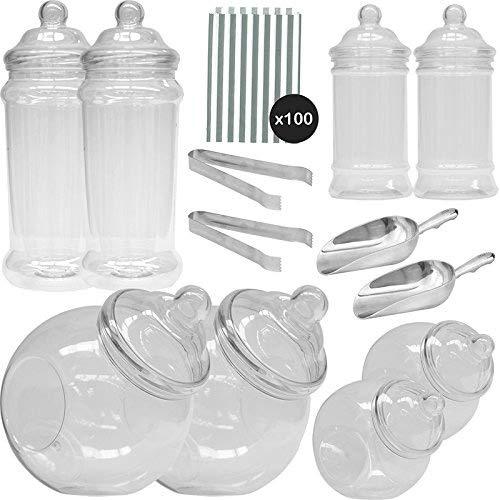 1387/5000 Vintage Viktorianische Pick & Mix Polka Dot Süßigkeiten Buffet Kit - 8 Plastikbehälter & 100 Silber Beutel