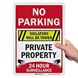 """SmartSign """"No Parking - Private Property, 24 Hour Surveillance, Violators Will Be Towed"""" Sign 