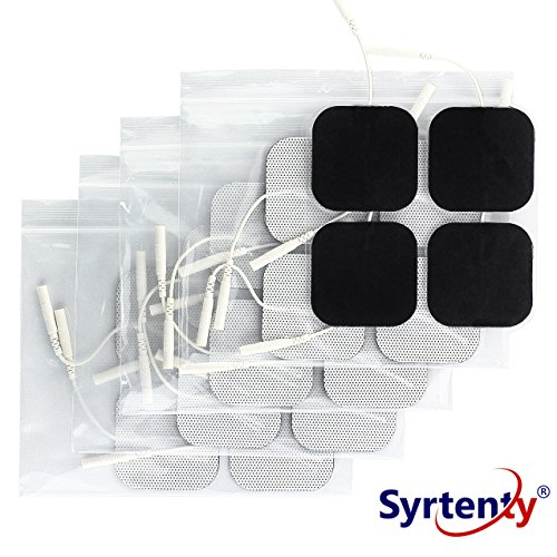 Syrtenty TENS Unit Pads 2x2 20pcs Reusable Replacement Electrode Patches for Electrotherapy Dura Stick Tens Electrodes