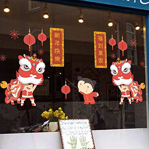 Weaeo Fête Du Printemps Stickers Muraux Lion Pétards Nouvel An Boutique Fenêtre Décoration Pvc