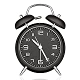 DreamSky Battery Alarm Clock with Backlight on Demand, 4 InchesTwin Bell Loud Alarm Clock for Heavy Sleeper, 3D Number Display, Non Ticking, Battery Operated.
