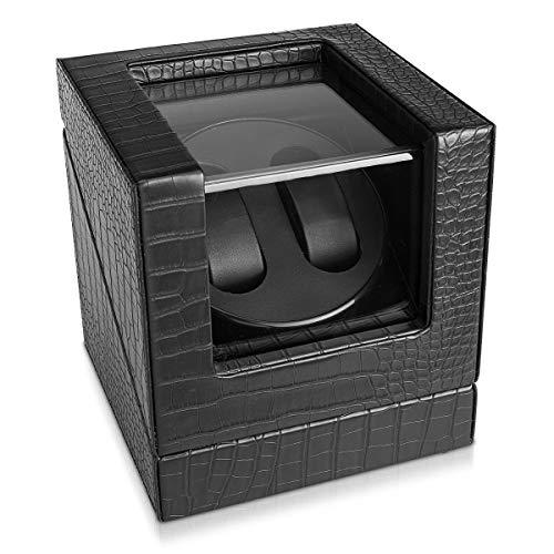 Navaris Caricatore custodia orologio automatico - x2 orologi silenzioso 4 programmi - Carica orologi automatici cofanetto similpelle