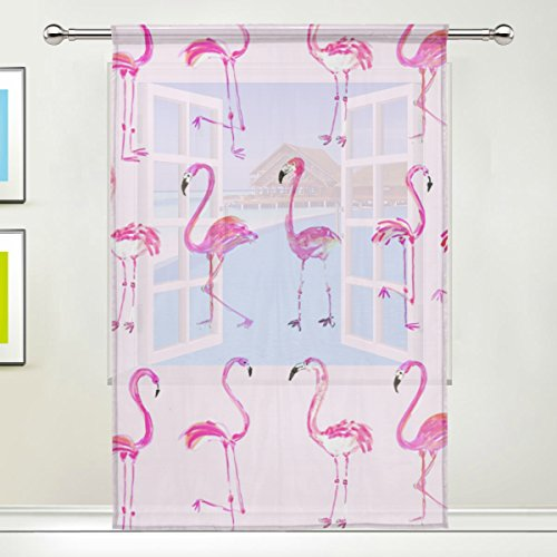 coosun Flamingos Pink Sheer Vorhang Einsätze Tüll Polyester Voile Fenster Behandlung Panel Vorhänge für Schlafzimmer Wohnzimmer Home Decor, 139,7x 198,1cm, 1Stück, Polyester, multi, 55x84x1(in)