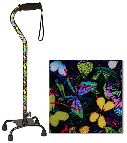 """NOVA Designer Quad Cane, Lightweight Four Legged Cane with Soft Grip Handle & Wrist Strap, Height (for users 4'11"""" - 6'3"""") and Left or Right Adjustable, Butterflies Design"""
