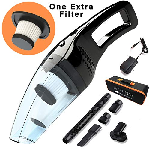 Attom Tech Cordless Handheld Vacuum Cleaner Rechargeable 120W Strong Suction Car Cleaner Wet and Dry Portable for Car Auto Home Kitchen with Easy Washable Filter Cleaning BrushesBlack