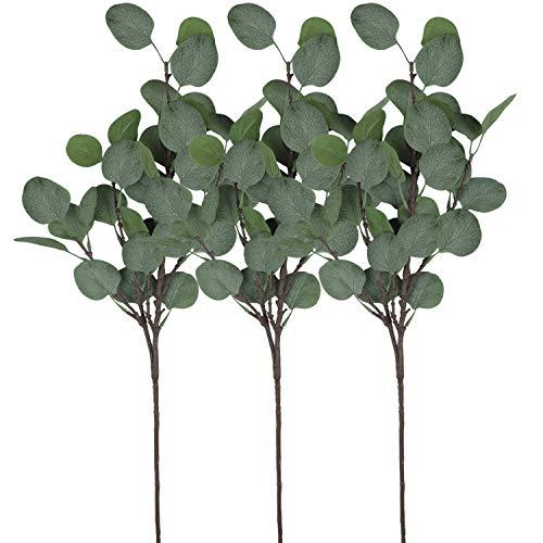 Alishomtll künstliche Eukalyptusblättersprays Silber Dollar Eukalyptus Pflanzen in grün, für Party Home Hochzeit Decor, 3 Stück