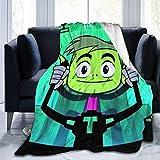 kangconnie03 de dibujos animados de anime adolescentes Titans Go! Manta de forro polar muy suave, cálida, mullida, fácil de cuidar, calidad adecuada para todas las estaciones.