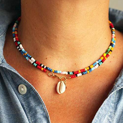 Jovono Gargantilla con colgante de concha bohemia con cuentas de colores, cadena para mujeres y niñas