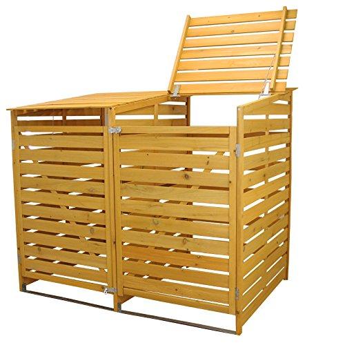 MonsterShop Double Wheelie Bin Store Natural Timber Shed Garden Outdoor Storage Box Lockable