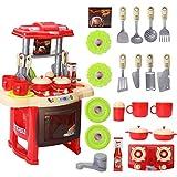 DUTUI Juguetes para niños Cocina Vajilla Iluminación Mesa Simulación Música Utensilios de cocina Niños Juegos de rol Niños Juguetes Educativos para Niños, Rojo