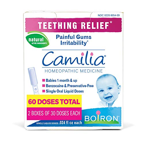 Boiron Camilia Teething Pain Relief 60 Doses (2 Packs of 30 Dose), 60 Count