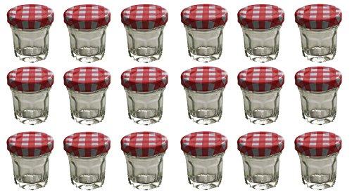 Einmachgläser Vorratsgläser Mini Portionsgläser eckige Form runder Drehverschluss 30 ml 18 Stück