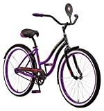 Schwinn Disney Evil Queen Adult Classic Cruiser Bike, 26-Inch Wheels, Low Step Through Steel Frame, Single Speed, Large Saddle, Coaster Brakes, Black/Purple
