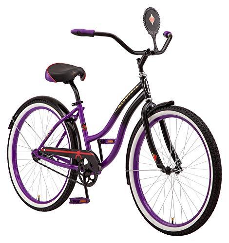 Schwinn Disney Evil Queen Adult Classic Cruiser Bike, 26-Inch Wheels, Low Step Through Steel Frame, Single Speed, Large Saddle, Coaster Brakes, Black/Purple