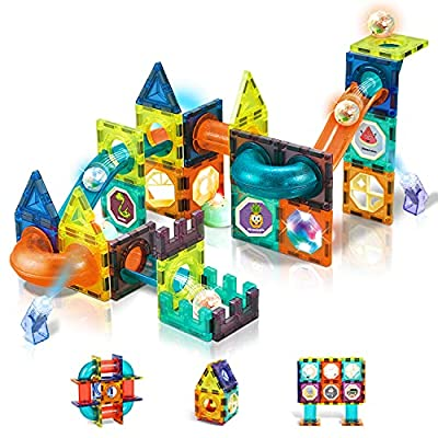 Lydaz Magnetic Tiles Building Blocks for Kids, 75PCS Magnets STEM Educational Learning Construction Toys Set, Marble Run Toys Birthday Gifts for Age 3 4 5 6 7 8 Year Old Boys Girls by LYDAZ INNOVATION CO. LTD