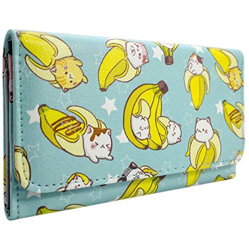 BananyaAnime Cat Banana Bleu Portefeuille