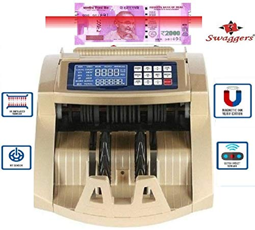 Swaggers Super 12 Cash/Money/Note Counting Machine with MG, UV, IR Fake Note Detection and LCD Display Updated for All New and Old Currency-10,20,50,100,200,500,2000