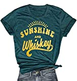 MNLYBABY Sunshine and Whiskey Short Sleeve T-Shirt Women Beach Funny Letters Print Summer Tops Tees Size XL (Dark Green)