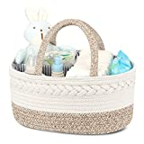 Diaper Caddy Organizer for Baby - 100% Cotton Rope Baby Basket Changing Table Diaper Storage Caddy, Maliton Portable Diaper Caddy for Baby Stuff, Best Baby Shower Gifts