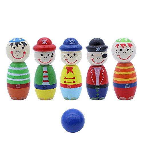 Toyvian Holz Bowling Ball Set Outdoor Indoor Spielzeug Bowling Pins mit Kugeln Kegelspiel für Kinder