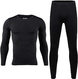 مجموعة ملابس داخلية حرارية للرجال من هيروبايكر للتزلج في الشتاء دافئة من الأعلى والأسفل حراري طويل جونز بلاك