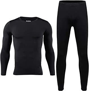 Men Thermal Underwear Set Winter Skiing Warm Top & Bottom Thermal Long Johns Black