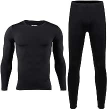HEROBIKER Men Thermal Underwear Set Winter Skiing Warm Top & Bottom Thermal Long Johns Black