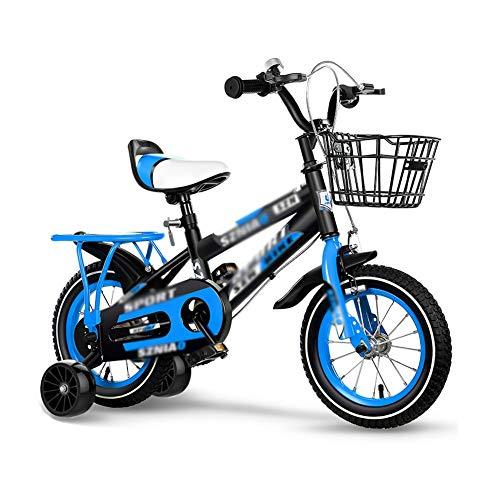 FINLR Bicicletta Bambini Bici per Bambini Ragazze Ragazzi Bici per Bambini per Bambini 3 Colori in Misura 12'14' 16'18' 20' con Sedile Posteriore Rotella di Assistenza Flash Casco E Cestino