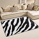 Use7 Tapis noir et blanc à imprimé zèbre pour salon, chambre à coucher 50 x 80 cm