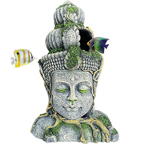 Hamiledyi Buddha Head Statue Aquarium Decorations Resin Fish Hideout Betta Cave for Large Fish Tank Ornaments Betta Sleep Rest Hide Play Breed