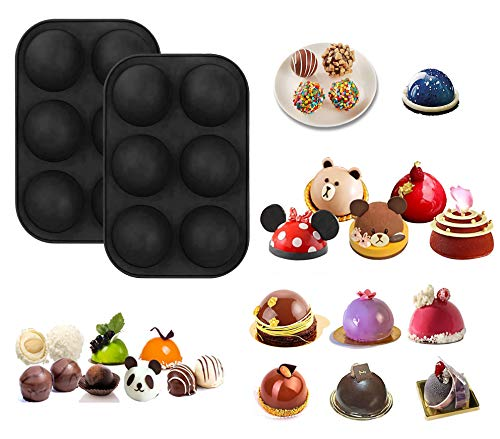 2Pcs Semi Sphere Silicone Mold, 6 Holes DIY Non-Stick BPA-Free Baking Molds For Making Hot Chocolate Bomb, Cake, Jelly, Dome Mousse, Handmade Soap And More