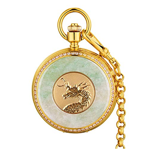 Nature Emerald Jade Gold Dragon Pocket Watch Vintage Roman Numerals Quartz Watch with Chain As Xmas Day Gift,2 steampunk buy now online
