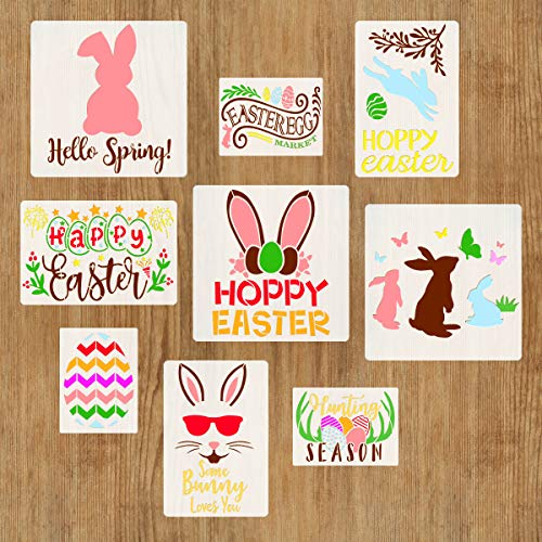 9 PCS Spring Easter Stencils for Painting on Wood DIY Farmhouse Home Wall Decor, Bunny Egg Hello Spring Butterfly Wreath Flower Reusable Templates