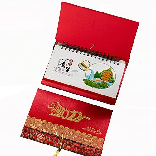 Hsjx Chinese Wind Weekly Calendar,2022 Desk Calendar,Tiger Year Monthly Calendar,2022 Runs Jan'21 – Dec'22,With Sticker Large Blocks Calendar(Color:A)