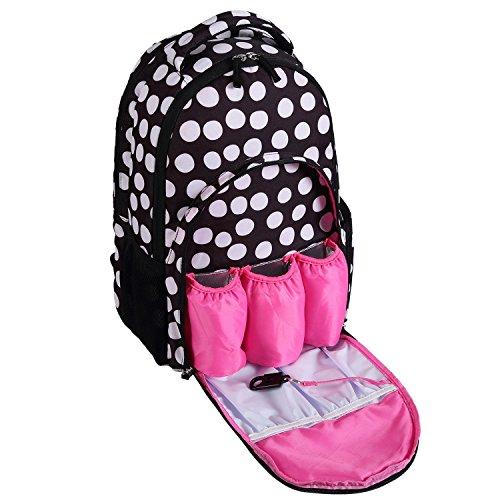 Baby luiertas - Smart Organizer grote capaciteit luier rugzak met 3 geïsoleerde zakken Large Zwart