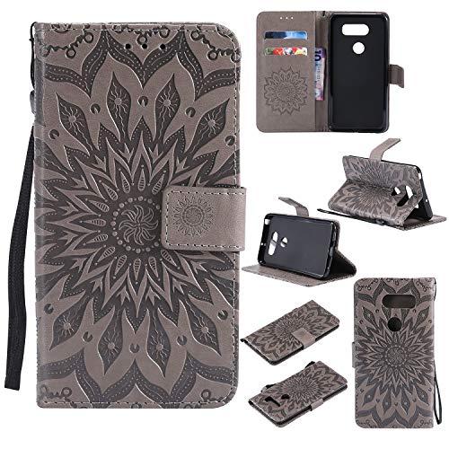 Hülle für LG V30/V30+ (V30 Plus) Hülle Handyhülle [Standfunktion] [Kartenfach] [Magnetverschluss] Schutzhülle lederhülle flip case für LG V30/V35/V30S - DEKT031795 Grau
