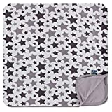 KicKee Pants Essentials Print Toddler Blanket, Silky Soft Baby Blankets, Viscose from Bamboo Fabric, Easy Transition from Crib to Bed (Feather/Rain Stars with Feather Reverse - One Size)