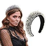 Diadema acolchada de terciopelo con perlas y esponja, con banda elástica y acolchada para el pelo, para mujeres y niñas Negro Negro ( Talla única