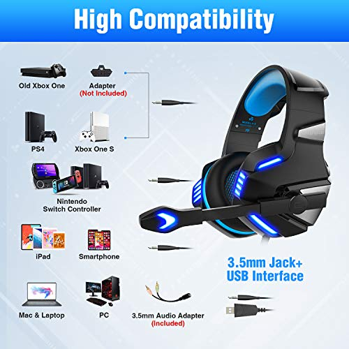 Micolindun Gaming Headset for Xbox One, PS4, PC, Over Ear Gaming Headphones with Noise Cancelling Mic LED Light, Stereo Bass Surround, Soft Memory Earmuffs for Smart Phone, Laptops, Tablet