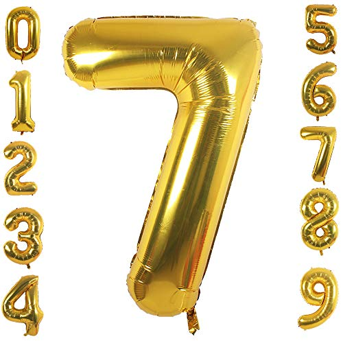 PartyMart Gold Foil Balloons Number 7, 42 inch