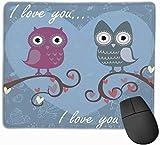 Bonita alfombrilla de ratón romántica con búhos para ordenador portátil, alfombrilla de ratón rectangular antideslizante para juegos, tarjeta de amor de San Valentín con alfombrilla de regalo con cor