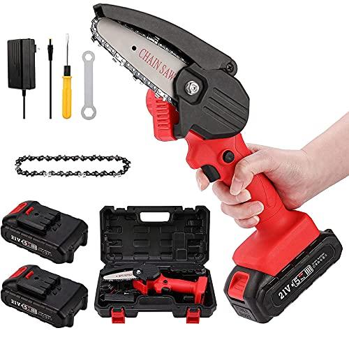 Generic Motosierra eléctrica con batería de 4 pulgadas, con motor de cadena de batería de 1 pieza, 0,7 kg, ligera y con tijeras de podar para cortar ramas