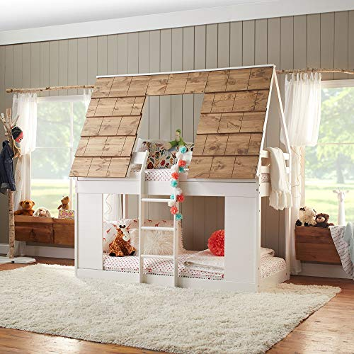 Ti Amo Taos Cabin Bunk Beds for Kids with Ladder, Twin Bunk Bed House, Two-Toned White/Brown, One Size