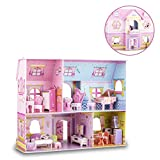 WISESTAR Large Princess Castle 3D Puzzles Model Dollhouse Kits for Girls, 92PCS Fairytale House with Furniture, Educational Toy Birthday Gift for Kids and Adults - Fit for Kids Over 8 Years