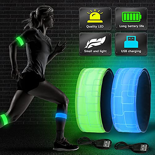 Vivibel LED Armband Aufladbar, 2 Stück Leuchtband mit USB, Reflektoren Joggen Leuchtarmband, Kinder Nacht Sicherheits Licht für Laufen Joggen Radfahren Hundewandern Running Outdoor Sports(Blau+Grun)