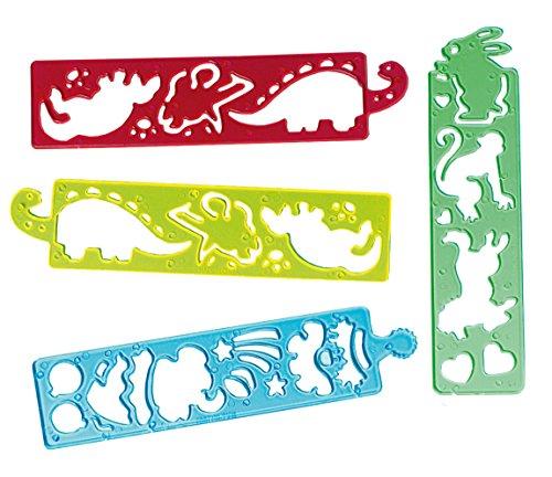 """12er Pack Malschablonen \""""Lustige Tierparade\"""" Tiermotive 4 x 17 cm Mitgebsel Kinderparty"""